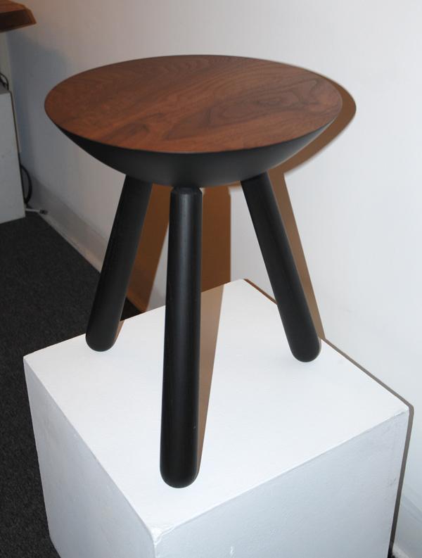 Scott McGlasson, Milking Stool, 2008. Walnut & black lacquered ash, lathe-turned and joined