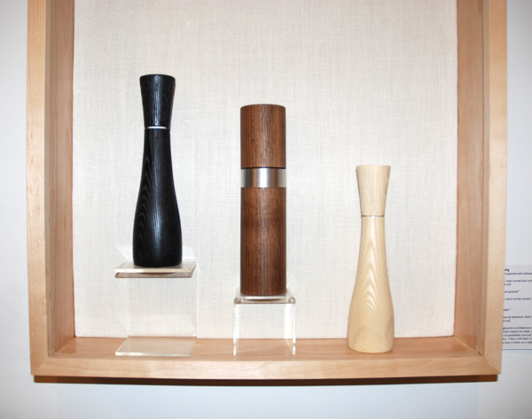 Fritz Muegenburg, Peppermill, 10 curve grained and carbonized, 2012. American white ash, hand turned and carbonized with ceramic CrushGrind mill; Peppermill, 10 curved grained, 2012. American white ash, hand turned ceramic CrushGrind mill; Peppermill, 10 cylinder, 2012. American black walnut & aluminum, hand turned with ceramic CrushGrind mill