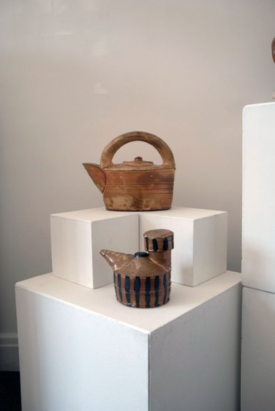 Linda Christianson, Teapot / Cooking Oil Can 2013. Thrown, wood-fired stoneware, salt added to kiln, Madison Metro photograph