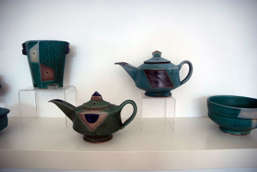 Jeff Oestreich, Teapots and Bowls, 2013. Madison Metro photograph