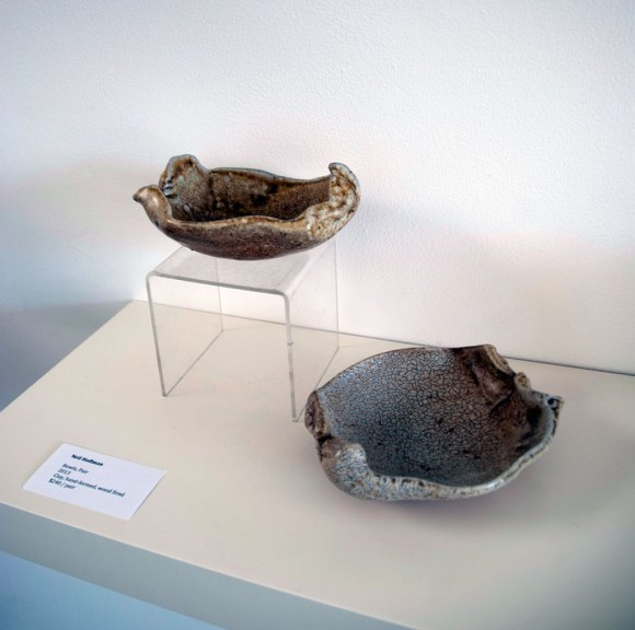 Neil Hoffman, Pair of Bowls, 2013. Clay, hand formed, wood fired, Madison Metro photograph