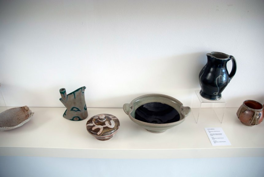 Scott Goldberg, Ewer, Jar, Bowl With Celadon Handles, Pitcher. Stoneware, wheel thrown, Madison Metro photograph