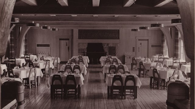 Timberline Lodge, Dining Room, Mt. Hood, Oregon, Friends of Timberline Archives