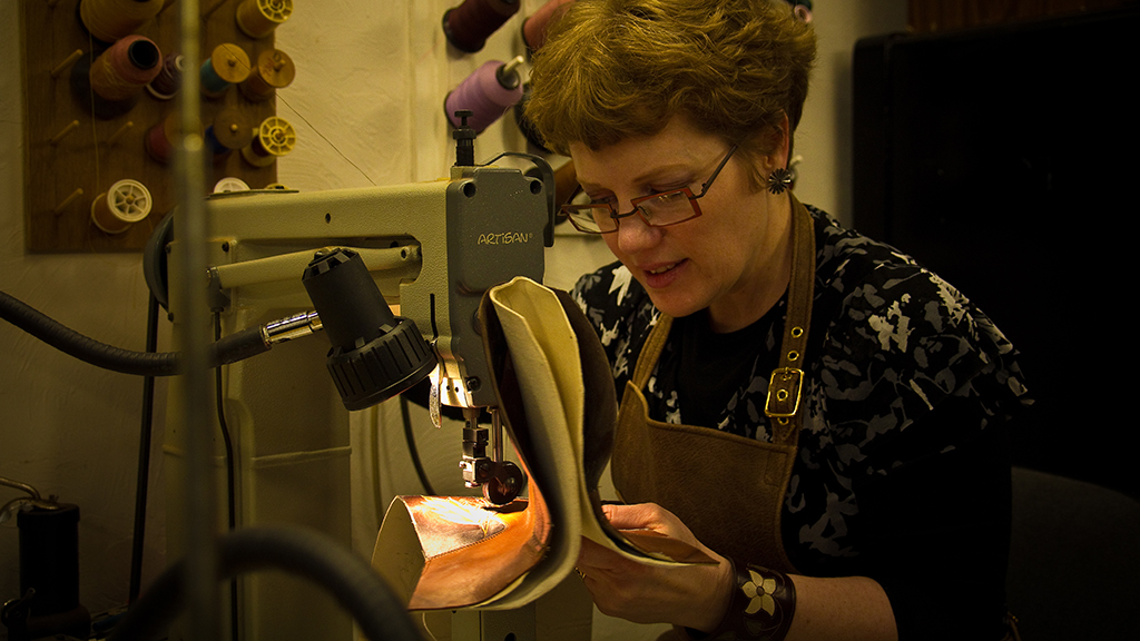 Lisa Sorrell, Cowboy Boots, Leathercraft, Bootmaking, Sorrell Custom Boots, Family episode, Craft in America, Mark Markley photograph