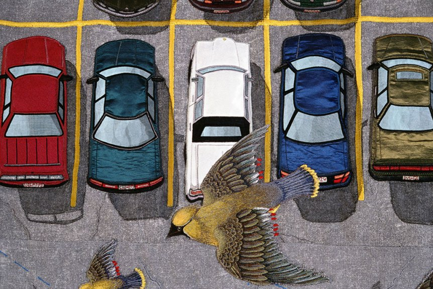 Terese Agnew, Cedar Waxwings at the AT&T Parking Lot (detail)