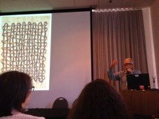 Jim Bassler discussing his magnificent weaving about weaving