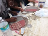 Student practicing sgraffito