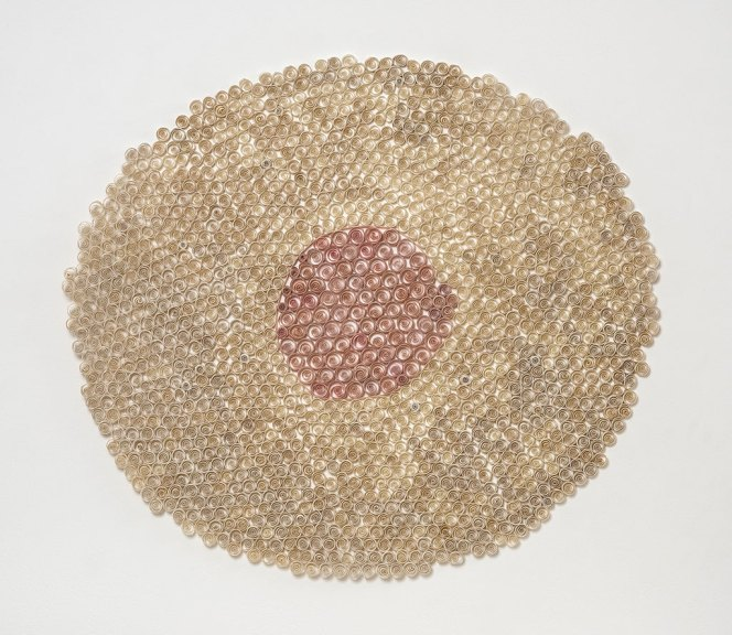 Karyl Sisson, Sunny Side Up, 2016. Vintage paper drinking straws and polymer