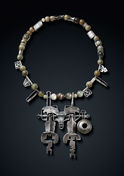 Ron Ho, Tibetan Reliquary, 2012. Fabricated and pieced silver, old Tibetan keys, jade ear plug, Chinese stone beads