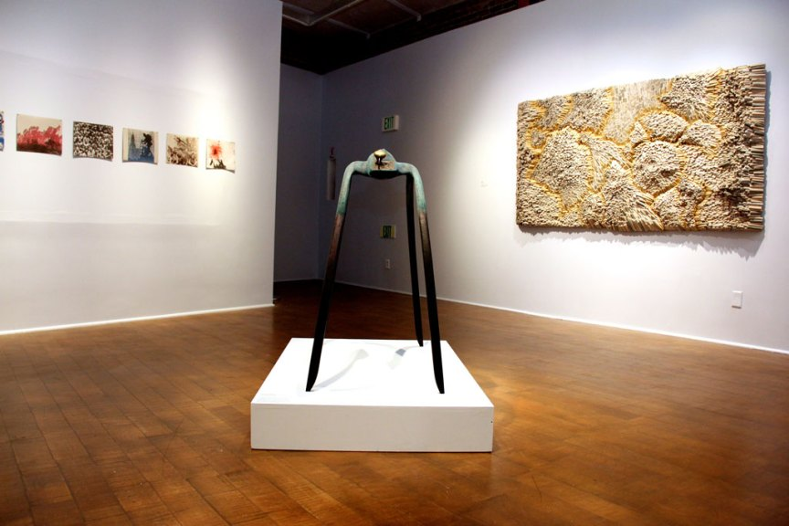 (Center) Jeremiah Holland, Variant Memory of a Non-Specific Tragedy; (Right) Jenn Hassin, A Battle Lost, 2015