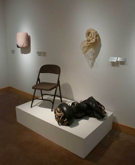 (l-r) Jennifer Anderson, Folding Chair, 2014; Victoria May, Study in Convulsion #3, 2014