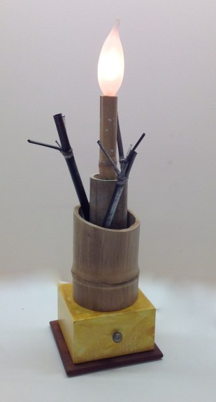 "Garry Knox Bennett, ""Bamboo Container with One Light and Stems"""
