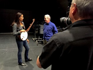 Filming Rhiannon Giddens talking with Jim Hartel, who made her minstrel banjo.