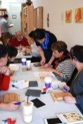 Yoshiko Yamamoto teaches block carving at the Valentine Print Workshop at the Craft in America Center.