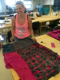 Charlene Knauss wove and is in the process of making a skirt in Randall and Brian' surface design class