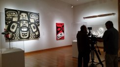 Filming Preston's Keet Shagoon (Killer Whale) screen at the Seattle Art Museum