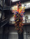 A Dale Chihuly sculpture in the Burlington Railroad Building that is now a center for many arts organizations