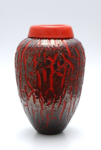 Mark Mitsuda, Orange and Gold Brown Crackle Vase, 2016