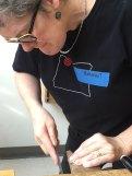Margaret smoothing the bezel