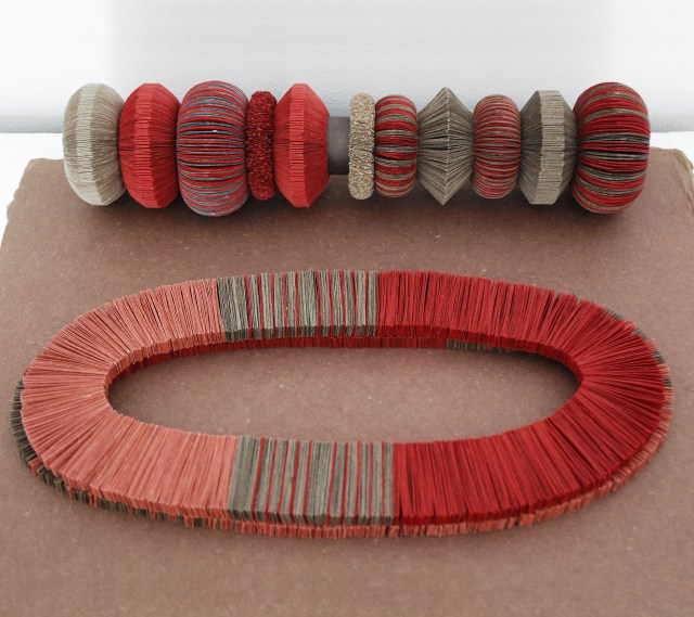 Kiff Slemmons, Collective Presence, Red + Pochote Pulseras Stack, 2002-2010, Handmade paper, natural and aniline dyes, elastic cord. Ojo de Agua, 2015, Handmade Paper, aniline, and natural dyes
