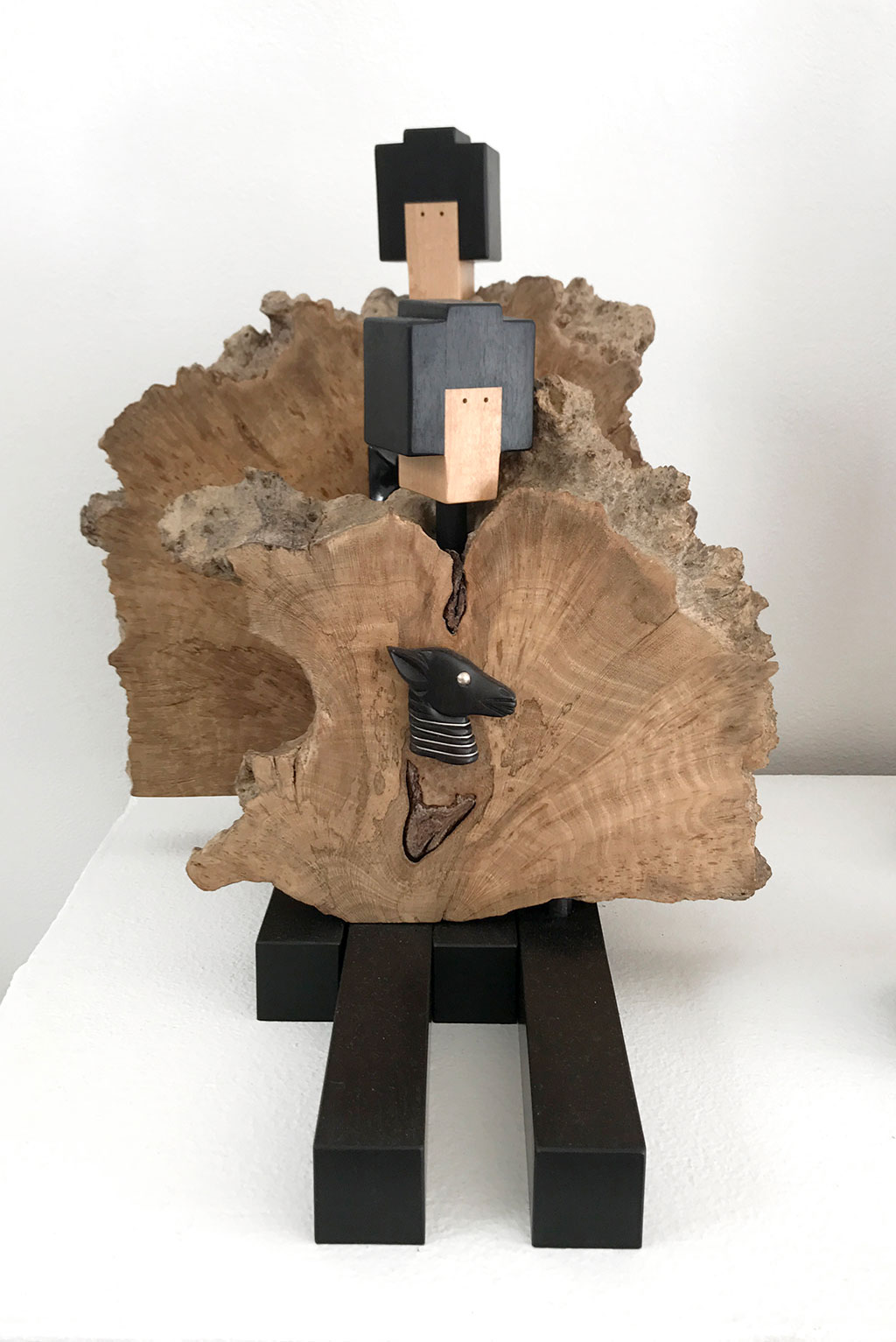 Made to Play, Pamela Weir-Quiton, Burly Girl #1 (behind) and #3 (front), 2018, Burl, Maple, Antelope Deco pin with Ebony hair and legs, Craft in America