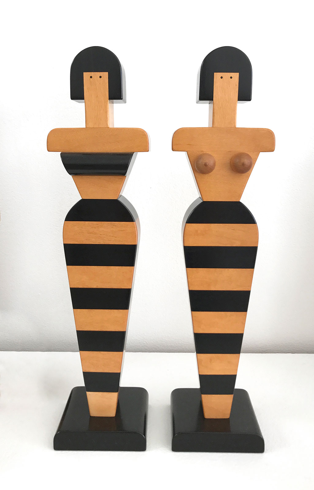 Made to Play, Pamela Weir-Quiton, Ven-us (left), 1992, Ebony and Maple, edition of 3; God-us (right), 1998, Wooden Acorn Boobs, Ebony and Maple, edition of 3, Craft in America