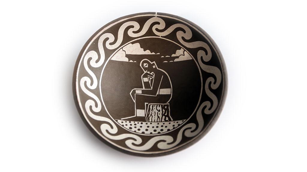 Diego Romero, The Thinker, c. 2008, Ceramic Plate, IDENTITY, Craft in America