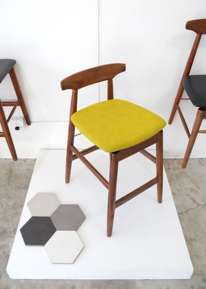 Chris Earl, High Wood Stool, Walnut, copper, 2015, Otium, Granada Tiles, Solid Hexagons, Cement, Tamara Kaye-Honey, House of Honey, Otium, Consume: Handcrafting L.A. Restaurant Design, Craft in America