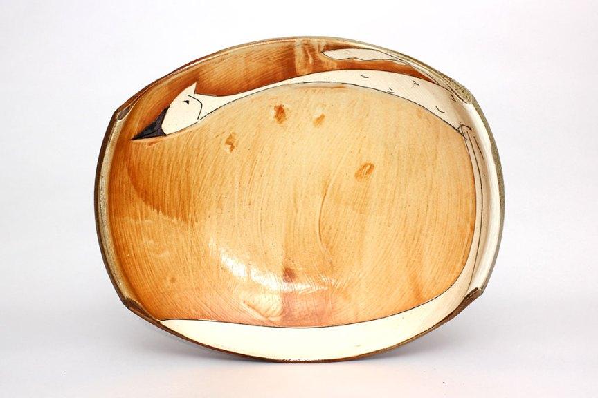 Matthew Krousey, Sandhill Crane Platter. Salt fired stoneware, slips, stains