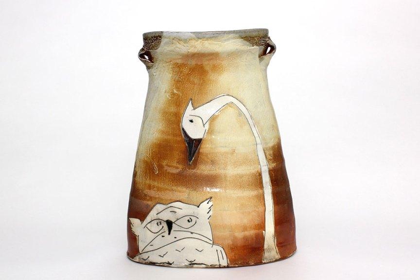 Matthew Krousey, Horned Owl and Sandhill Crane Oval Vase. Salt fired stoneware, slips, stains, glaze