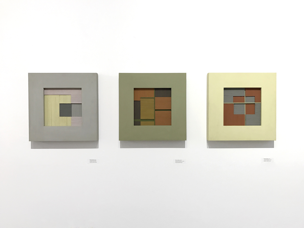 """Installation view of Wendy Maruyama's """"The Color Field"""" series, IDENTITY, Craft in America"""