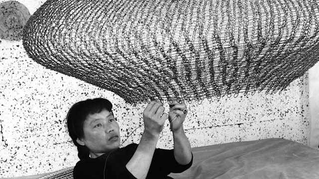 Ruth Asawa, 1957. Courtesy of the Estate of Ruth Asawa. Craft in America (Header)