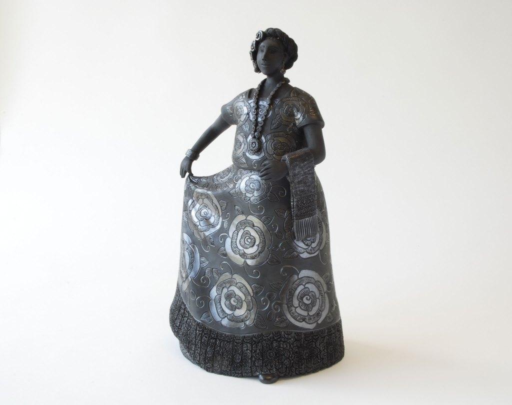 "Magdalena Pedro Martinez, Black Clay, H12""  x W7"" x D5.5"", 2017. Borders Neighbors, El Pueblo. Magdalena Pedro Martinez, Black Clay, Craft in America"