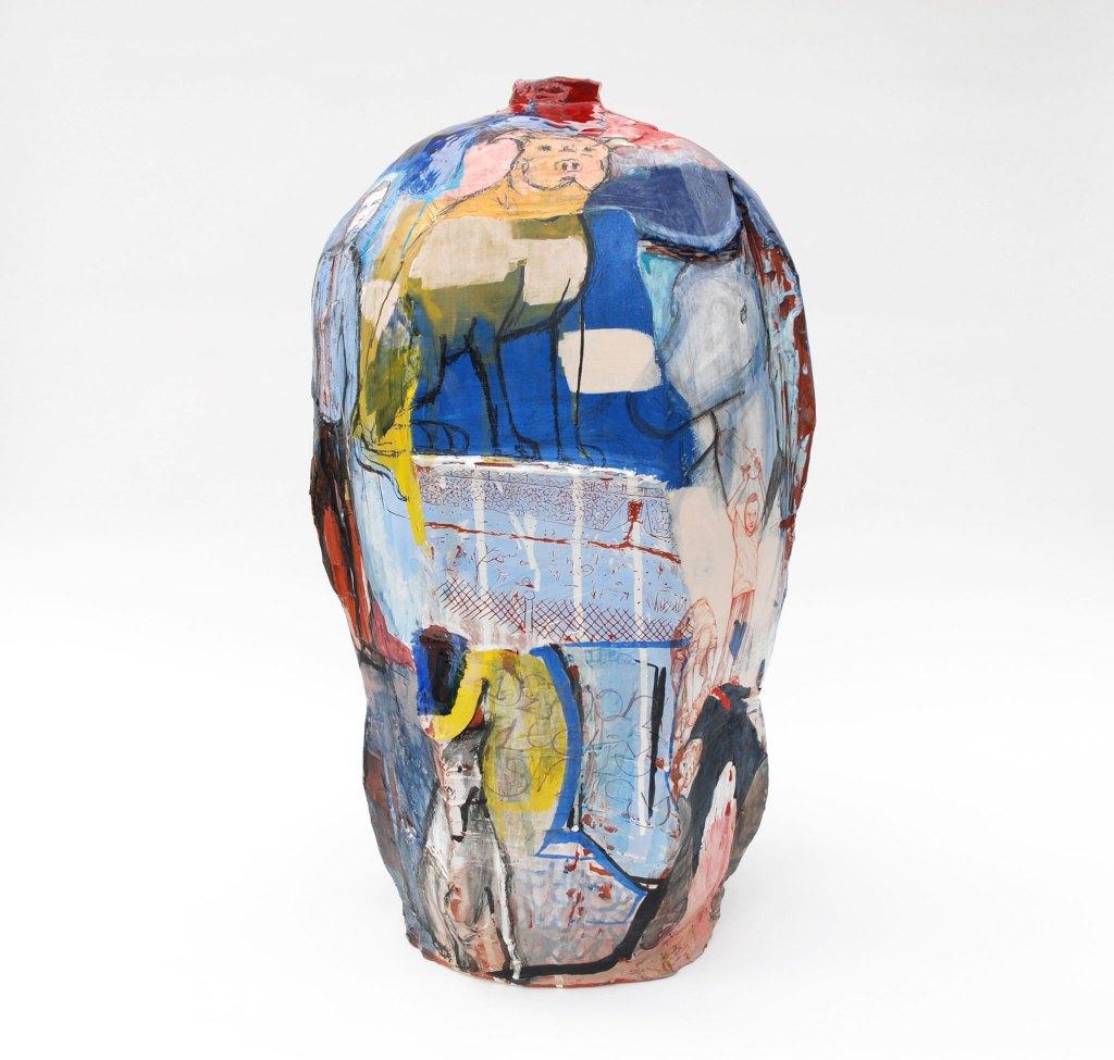 Gerardo Monterrubio, Rolldogs, 2017. Terracotta, under and overglazes, 26.5 x 13 x 14 in. Craft in America NEIGHBORS.