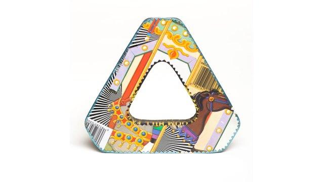 Harriete Estel Berman, Identity Bracelet: Triangular Metallic Gold with Linear Motif. Courtesy of the artist. JEWELRY episode of Craft in America