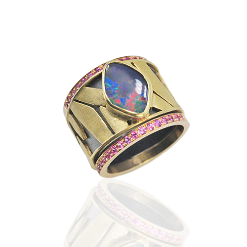 Rebecca Myers Design - Monarch Opal with Pink Sapphire Stacks, Craft in America