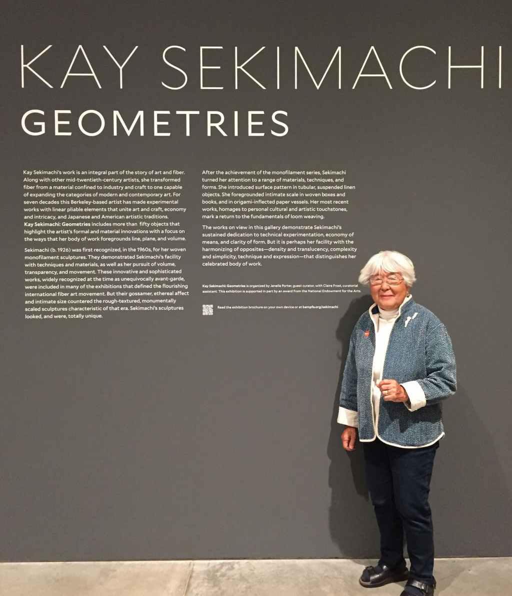 Kay Sekimachi at her Geometries exhibition