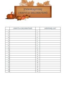 Thanksgiving Dinner Menu Planning Printables Crafts & Decorations
