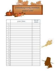 Thanksgiving Dinner Menu Planning Printables Guest List