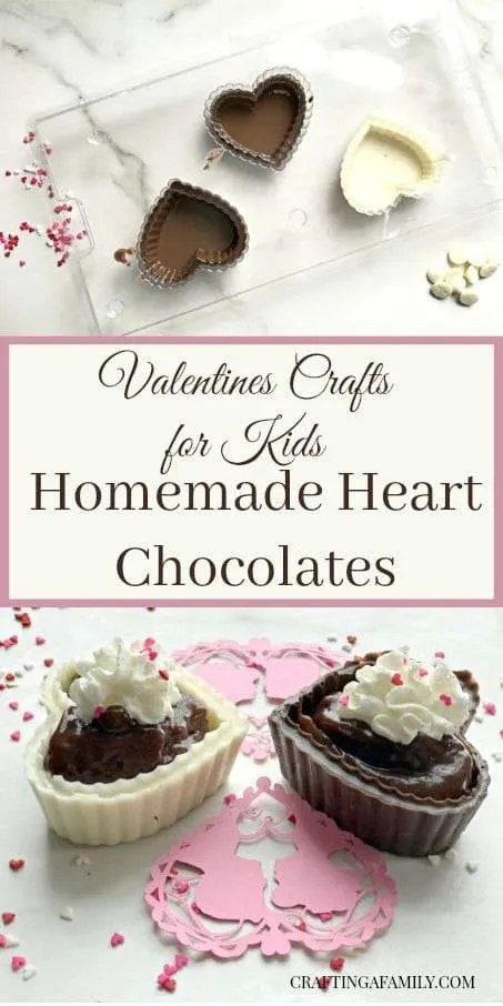 One of our families Valentine's Day crafts for our kids has always been making homemade molded chocolate hearts. This year in addition to the traditional solid chocolate heart, I purchased a plastic mold that makes a heart boxes. We melted dark chocolate and white chocolate to make a variety of Hearts and I am not sure which one is our favorite.