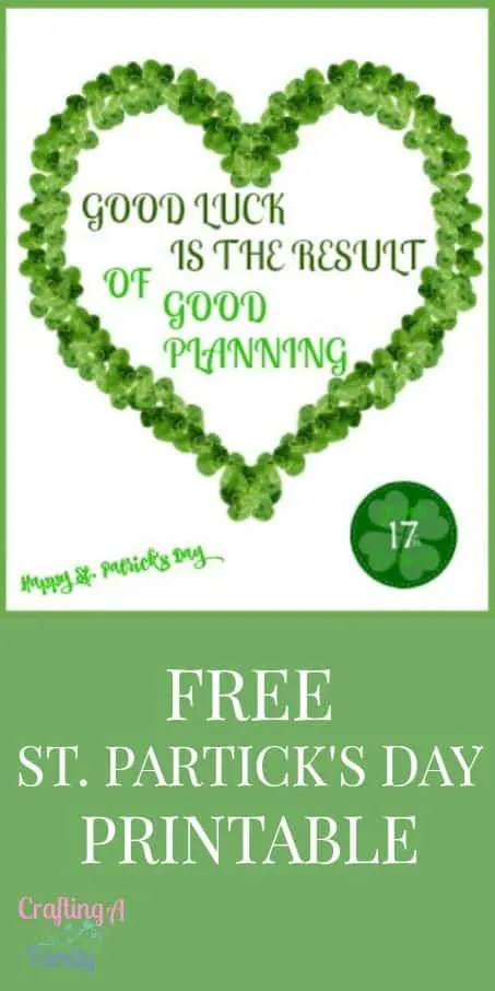 St. Patrick's Day Good Luck Shamrock Printable