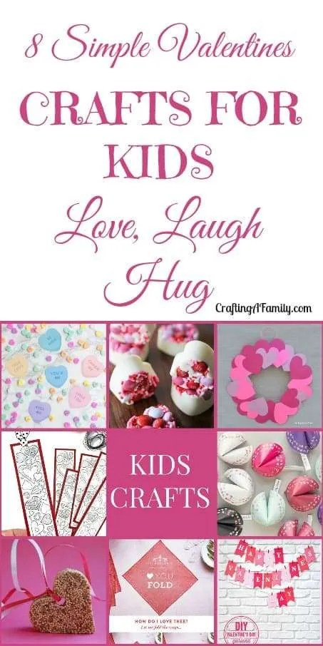 Simple Valentines crafts for kids love, laugh, hug