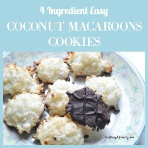Easy Coconut Macaroon Cookie Recipe dipped in chocolate, gluten free and only 4 ingredients.