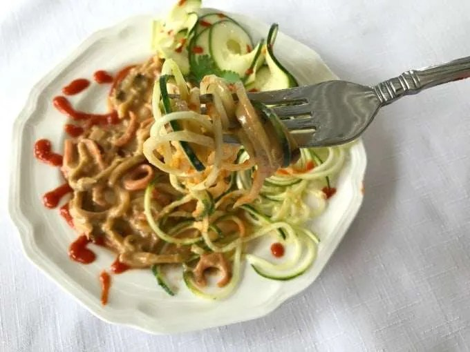 Spicy Zucchini Noodles in Peanut Lime Sauce