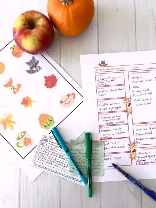 Fall Weekly Meal Plan