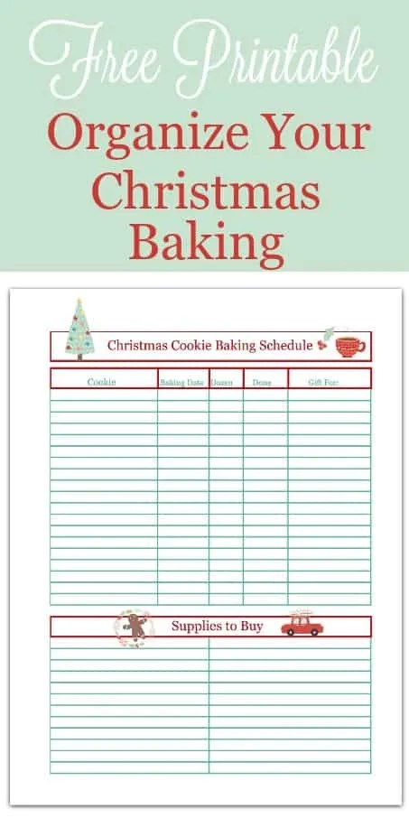 Christmas Cookie Baking Schedule Printable