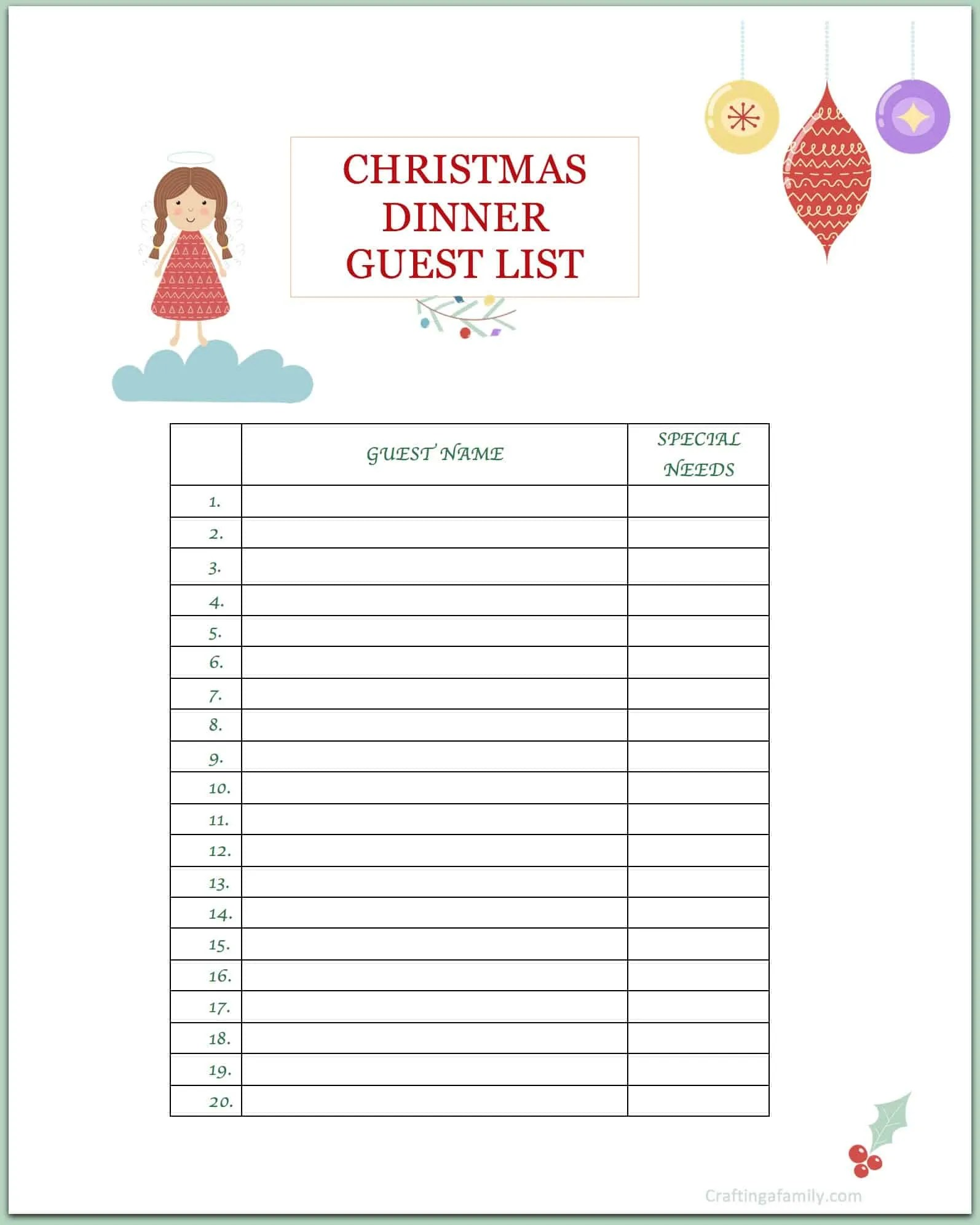 image about Party Planning Printable titled Xmas Get together Building Printable ~ Composing a Relatives