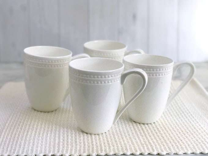 blank white coffee mugs on a white background