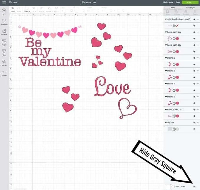 DIY Valentines Vinyl Placemat cricut design space red hearts and be my valentine and love in red vinyl