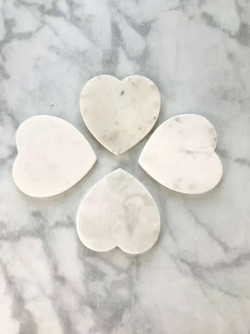 Valentines DIY Vinyl Coasters white heart shaped marble coaster